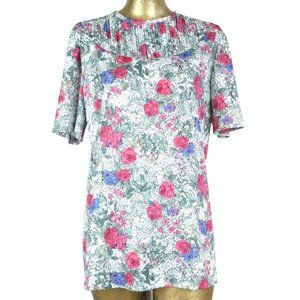 80s Floral Pleated Half Sleeve Scoop Neck Blouse